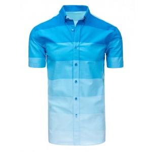 Pruhovaná pánská bavlněná košile modré barvy s krátkým rukávem