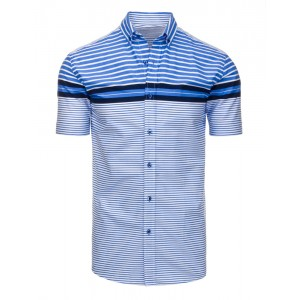 Ležérní modré pánské košile s krátkým rukávem a proužkovaným vzorem