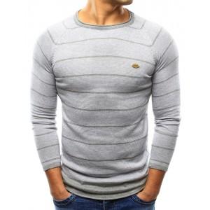 Ležérní pánský svetr v šedé barvě s pruhovaným vzorem