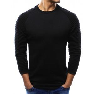 Jednoduchý černý pánský svetr s kulatým výstřihem a vzorem na rukávech