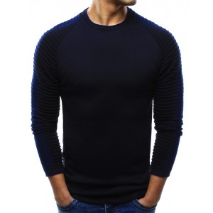 Tmavě modré pánské svetry přes hlavu se vzorovanými rukávy