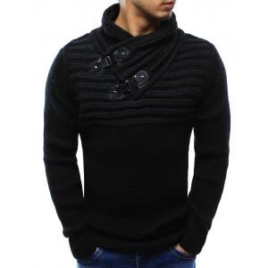 Moderní pánské svetry v černé barvě s přezkami a stojatým límcem