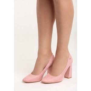 Světle růžové dámské lodičky na vysokém tlustém podpatku