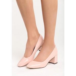 Lesklé růžové dámské lodičky na nízkém podpatku