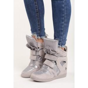 Šedé dámské boty na platformě se suchým zipem