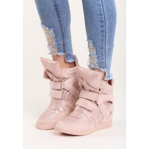 Růžové dámské kotníkové boty s lesklým povrchem