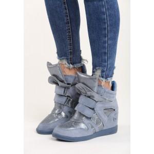 Lesklé dámské kotníkové boty na platformě modré barvy