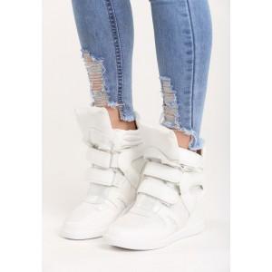 Sportovní dámská kotníková obuv na platformě bílé barvy