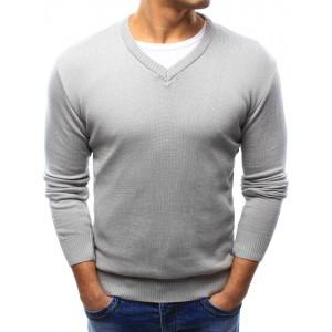 Jednoduchý pánský bavlněný svetr šedé barvy s výstřihem do V