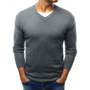 Tmavě šedé pánské bavlněné svetry s véčkovým výstřihem na každý den