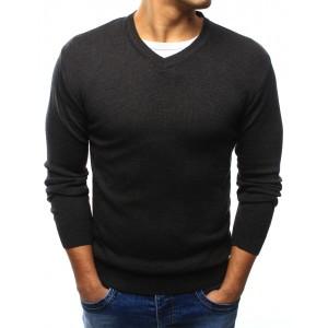 Bavlněný tmavě šedý pánský svetr s výstřihem do V na volný čas