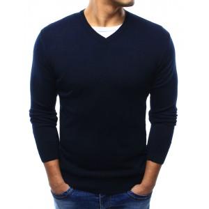 Jednoduchý tmavě modrý pánský svetr s véčkovým výstřihem na každou příležitost