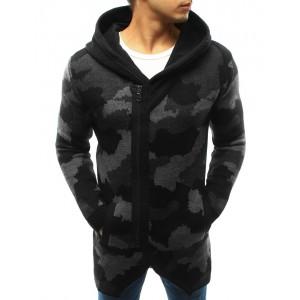 Moderní pánské ARMY svetry v černé barvě s kapucí a zipem