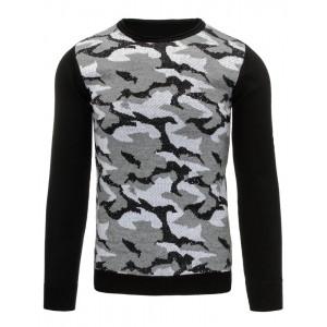 Černé pánské svetry s maskáčovým vzorem a kulatým výstřihem