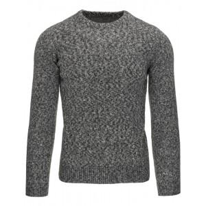 Ležérní pánský šedý svetr s kulatým výstřihem a zrnitým vzorem