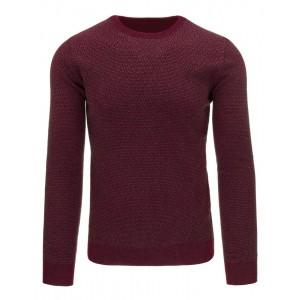 Vzorovaný bavlněný pánský svetr přes hlavu v bordó barvě na každý den