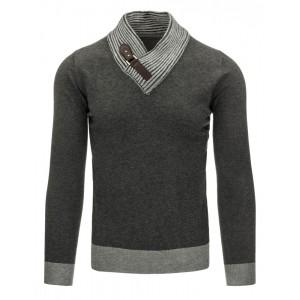 Moderní tmavě šedý pánský svetr se stojatým límcem a přezkou
