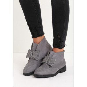 Šedá dámská zimní obuv s mašličkou a kamínky