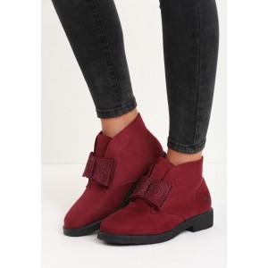 Semišové dámské zateplené boty s mašličkou vínové barvy