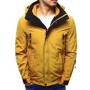 Jarní sportovní bunda pro pány v žluté barvě s kapsami na zip