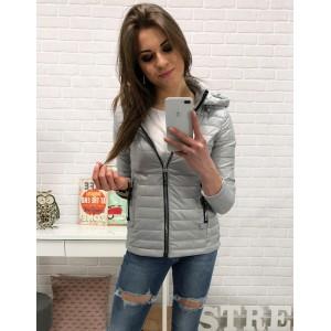 Lehká jarní bunda dámská v šedé barvě se zapínáním na zip