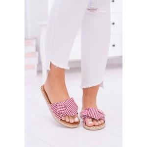 Kárované dámské pantofle na léto v červené barvě