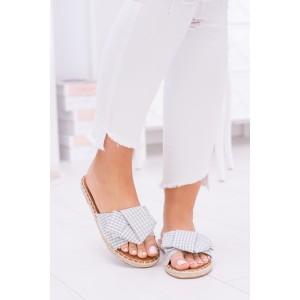 Dámské pantofle na léto pro dámy v šedé barvě
