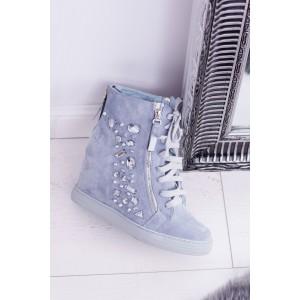 Dámské boty na platformě v modré barvě