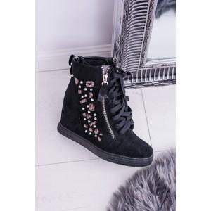 Kotníková obuv dámská v černé barvě na šněrování