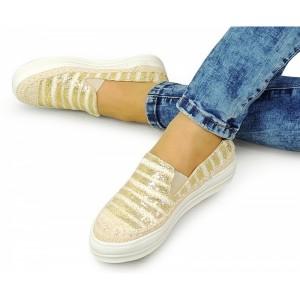 Dámské boty na volný čas ve zlaté barvě