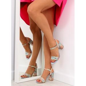 Modré letní sandály na podpatku v květinovém motivu