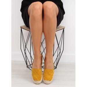 Dámské boty espadrilky s jemným vybíjením v žluté barvě