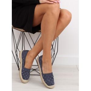 Letní obuv pro ženy v tmavě modré barvě s vybíjením