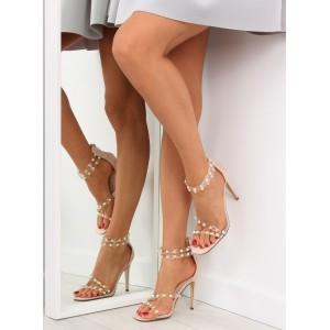 Vysoké dámské sandály v béžové barvě se zipem