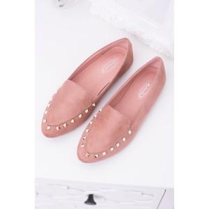 Elegantní dámské polobotky růžové barvy s ozdobami