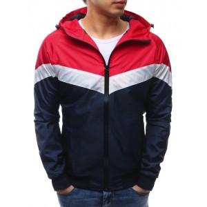 Pánská přechodná bunda tmavě modrá s kapucí a zipem