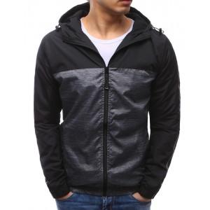 Jarní sportovní bunda černé barvy s kapucí pro pány