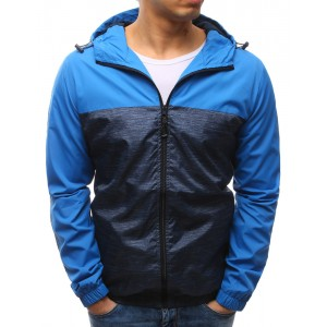 Jarní a podzimní pánské bundy s kapucí modré barvy