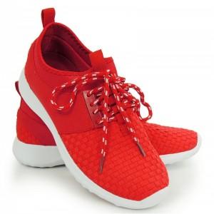 Levné dámské tenisky na léto v červené barvě