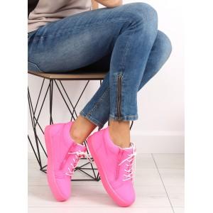 Dámské kotníkové tenisky růžové barvy na zip