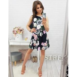 Černé letní šaty s květinovým vzorem bez rukávů