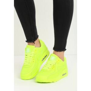 Boty sportovní dámské s takničkami neónovo žluté barvy