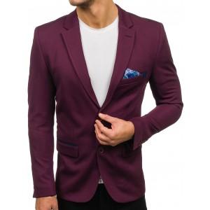 Pánské letní sako slim fit ve fialové barvě