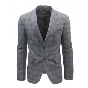 Pánské moderní sako s károvaným vzorem v šedé barvě