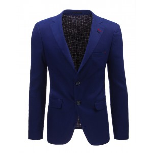 Společenské sako sýtě modré barvy s dvěma knoflíky