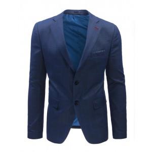 Ležérní pánská saka modré barvy s kostkovaným vzorem