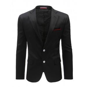 Moderní pánské sako s náprsní kapsou v černé barvě