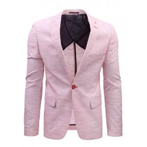 Pánské moderní saka v růžové barvě s kapsami a knoflíkem