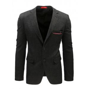 Černé sako pro pány s kapsami a zapínáním na dvě knoflíky