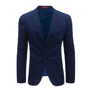 Moderní pánské sako s kostkovaným vzorem modré barvy
